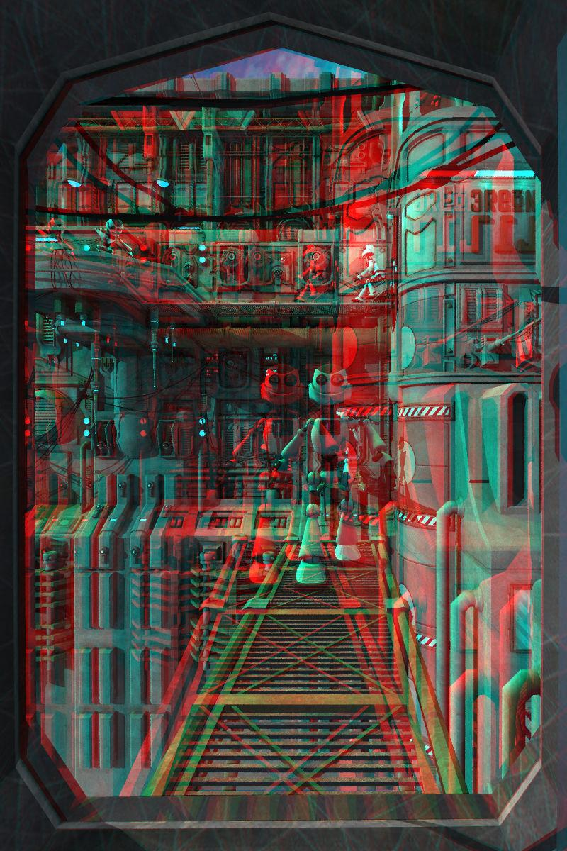 Busy Bots Anaglyph