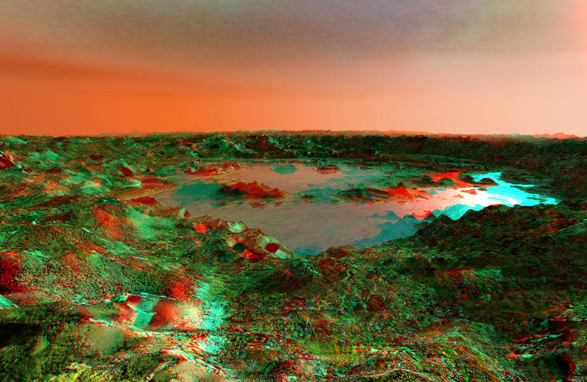 Lake Korolev Anaglyph