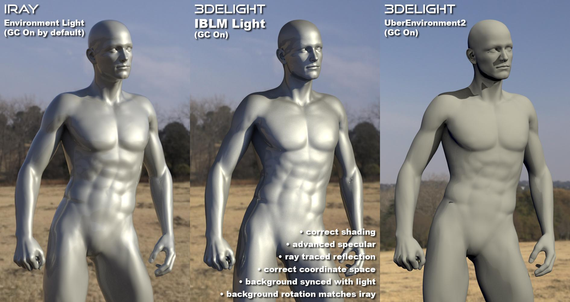 Statues: Iray vs IBLM light vs UE2