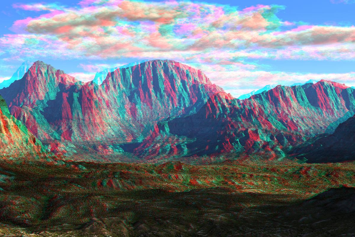 Bare Mountains Anaglyph