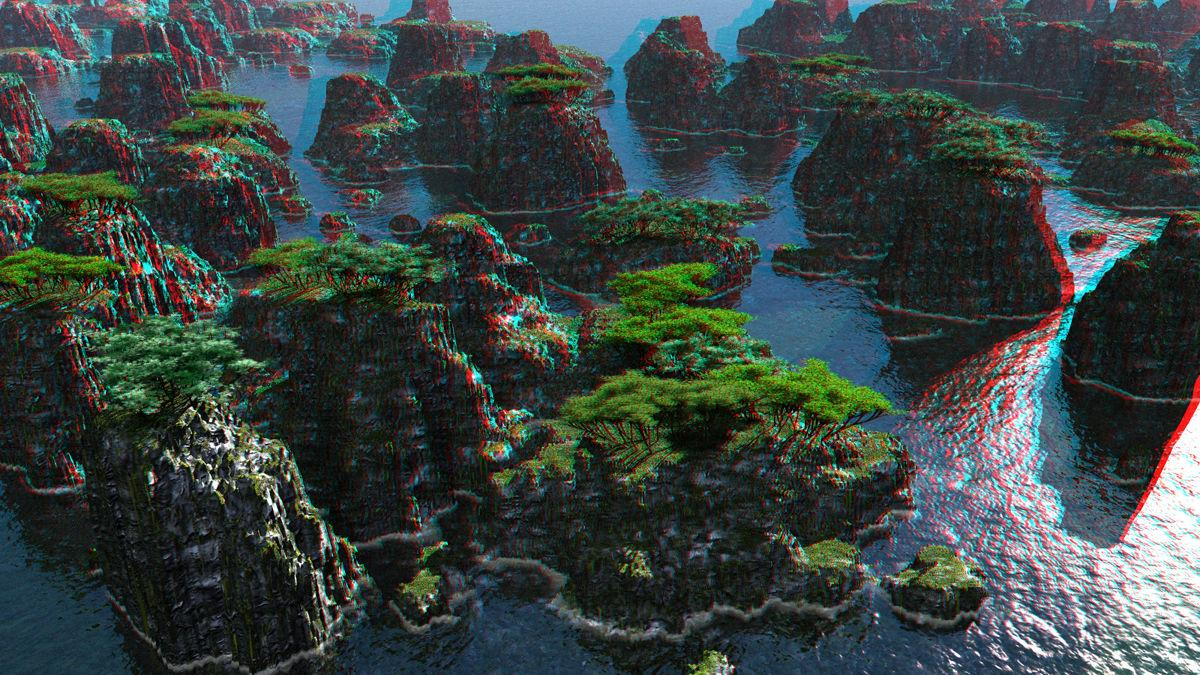 Threes on Mounds Anaglyph