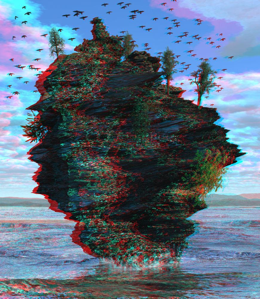 Lone Rock Anaglyph