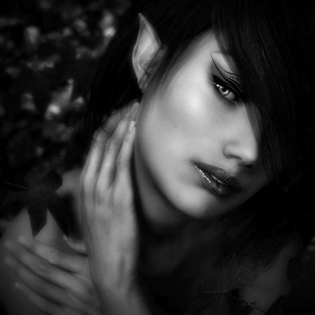 A black & white portrait of a Woodland Elf