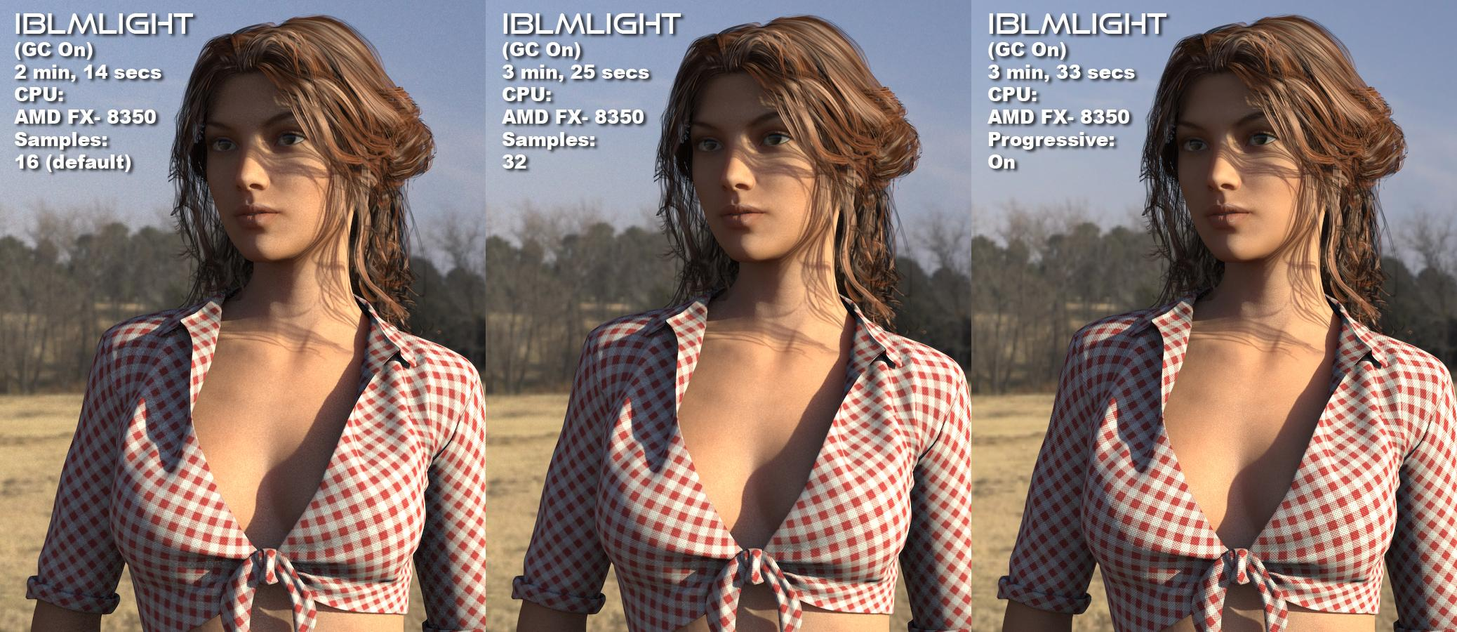 IBLMLight: Default Samples Vs 32 Samples Vs Progressive Rendering On