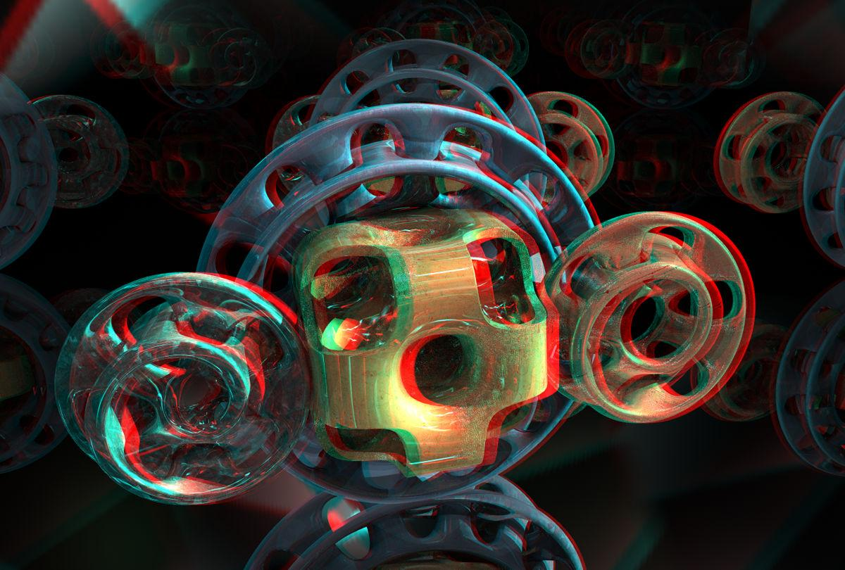 Cube and Spirals Anaglyph