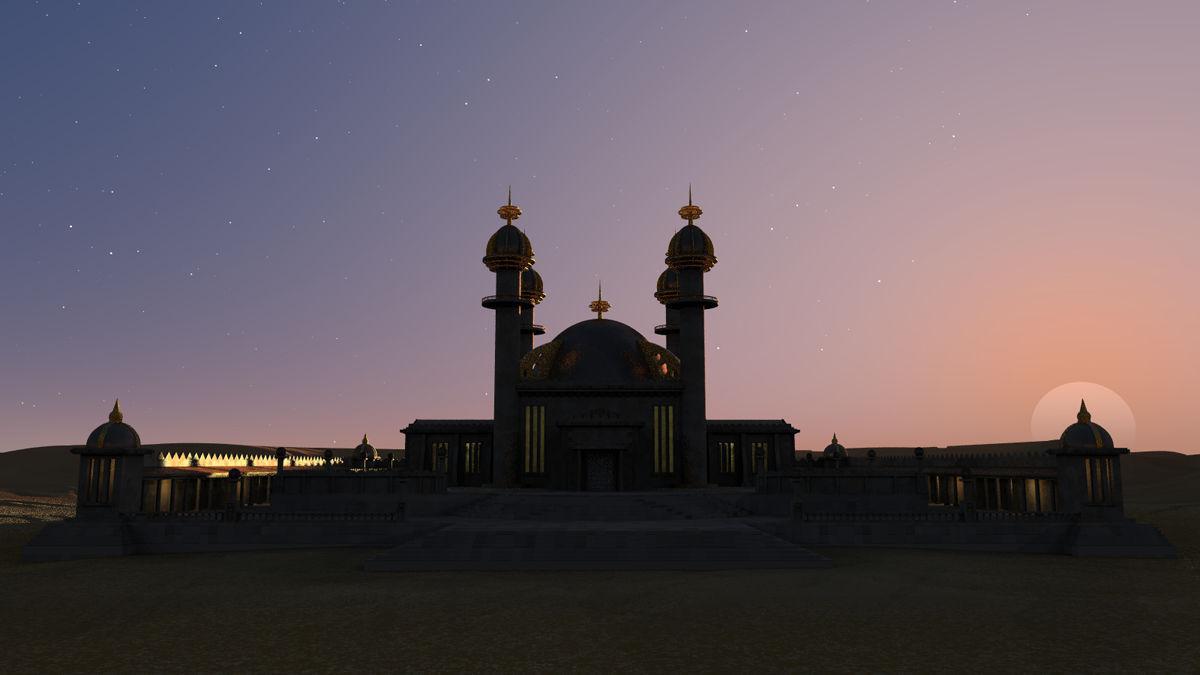 Sunset over Desert Temple