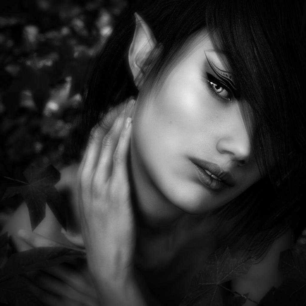 Black and White portrait of Woodland Elf