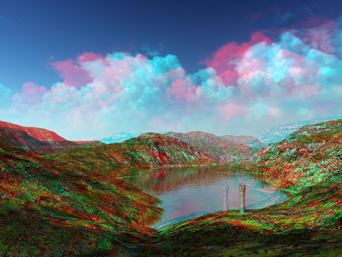 Tower by the Lake Anaglyph
