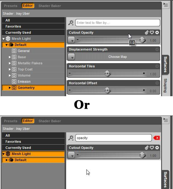 Where to find Cutout Opacity in Daz Studio parameters