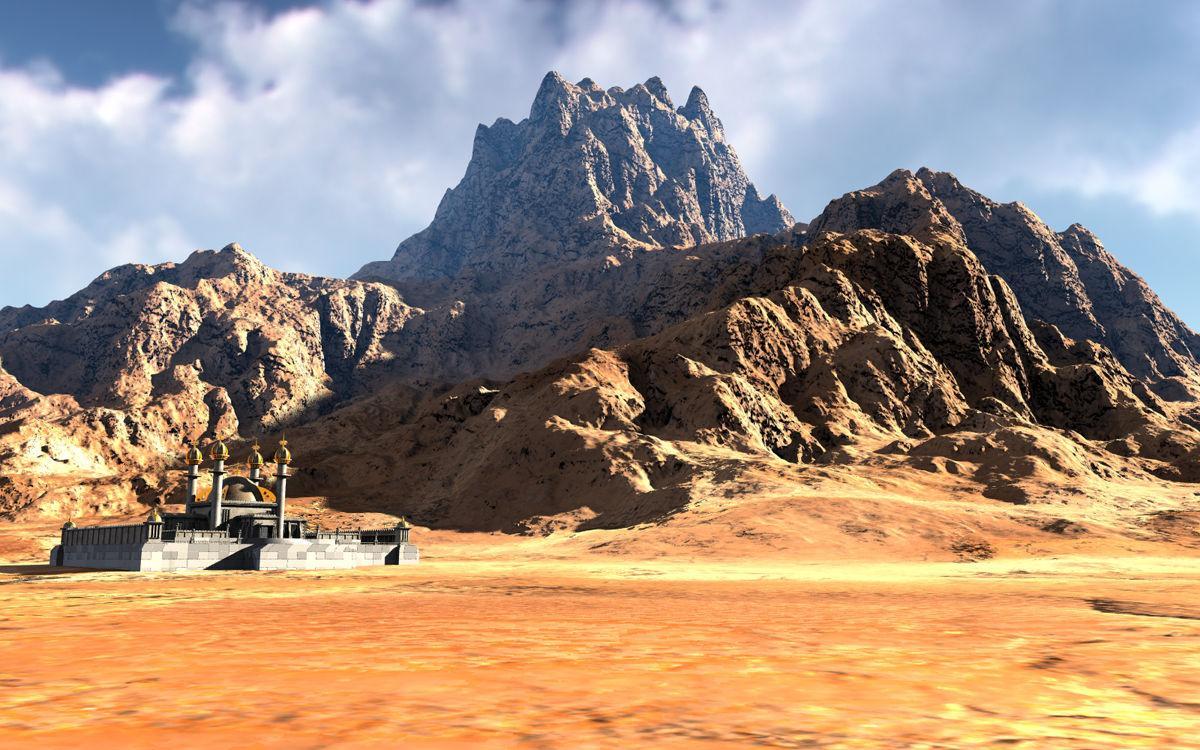 Desert Temple on Foot of Mountain