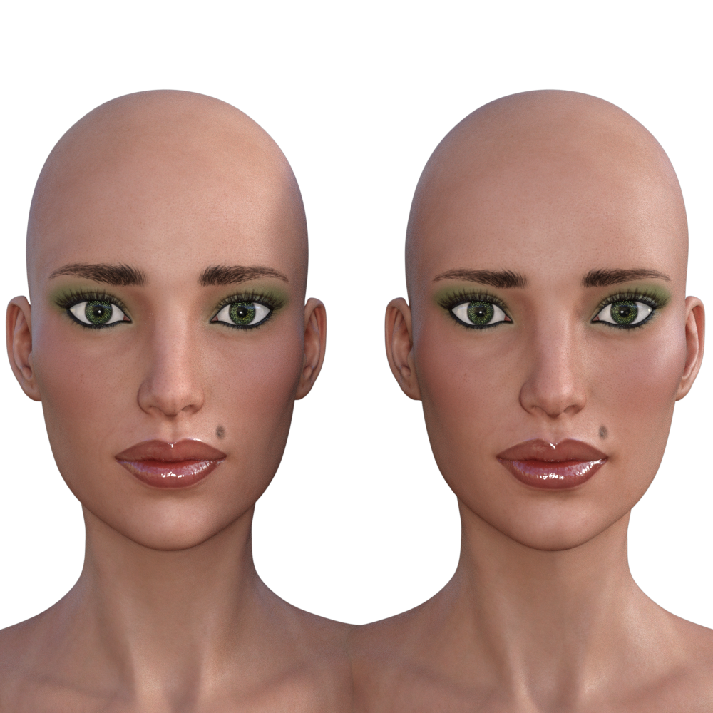 Side-by-side, Face, Arabella UV vs G3F UV
